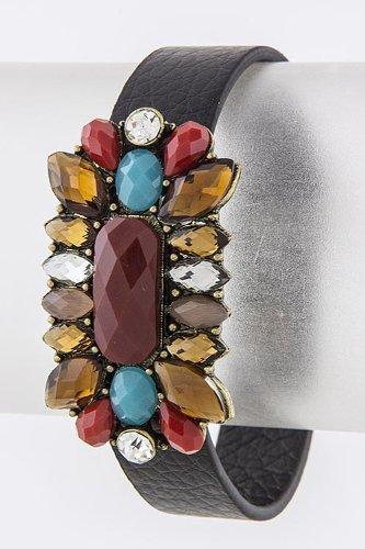 Karmas Canvas Sunburst Jewel Bracelet (Burgundy)