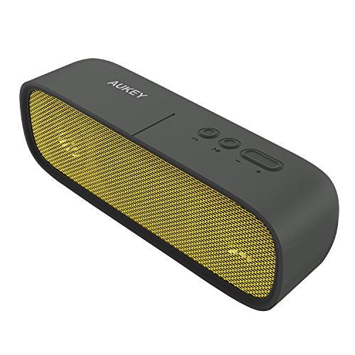 AUKEY Altoparlante Bluetooth 4.1 Speaker Portatile wireless con Microfono e Funzione di AUX, 2x3 Driver e 14 Ore edi Riproduzione per iPhone Samsung LG e altri Smartphones(SK-M7, Giallo)