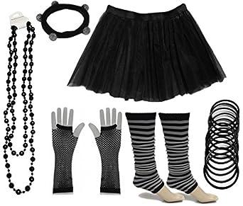 A-Express® Neon Tutu Skirt Legwarmer Gummies Beads Hen Fancy Dress Party Costumes Set