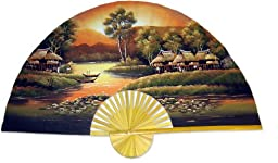 40 Inch Golden Village Hand Painted Wall Fan