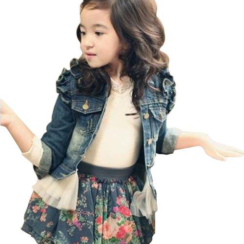 Little Hand Little Girls' Denim Grenadine Princess Coat Jacket front-1050394