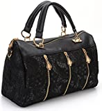 Annymall Women Designer PU Leather Tote Handbags Purses Shoulder Clutch Hobo Bag (ANDI ROSE Black)