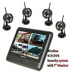 New Wireless 4ch Quad DVR 4 Cameras digital wireless camera & DVR system with 7