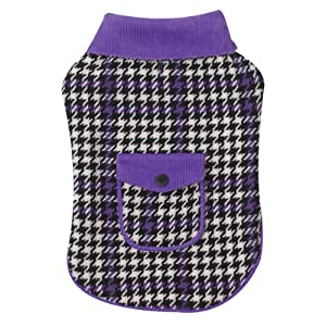 East Side Collection 6-Inch Polyester Houndstooth Dog Coat, Teacup, Ultra Violet
