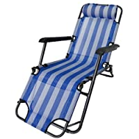 Steel High Back Beach Chair Two Position Adjustable with Neck Pillow Weight Capacity 200lbs Length 60 Inch- Blue by CusCus