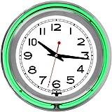 "Trademark Gameroom Green Chrome Double Ring Neon Clock, 14"""
