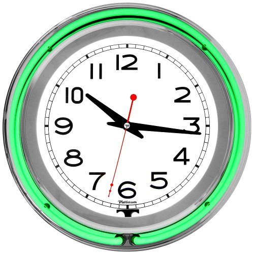 Trademark 14-Inch Double Ring Neon Clock Green Outer White Inner Neon Clock