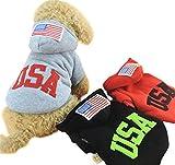 ange select スポーティー カジュアル ファッション 犬 ペット 用 ウエア 服 フード 付き USA 英字 ロゴ パーカー 国旗 アメリカ (グレーM)