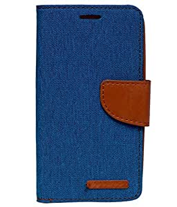 Canvas Diary Wallet Case Card Insert Cover with Magnet Closure for Micromax Yureka / Yureka Plus (Blue)