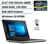 Dell Inspiron 15 5000 High Performance FHD Touchscreen Laptop 2016 Flagship, Intel Core i7-6500U 3.1GHz, 16GB Ram, 1TB HDD, 4GB AMD Radeon R5 M335, Backlit Keyboard, HDMI, DVD, Webcam, Windows 10