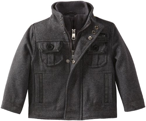 Urban Republic Little Boys' Wool Jacket, Charcoal, 4 front-1021134