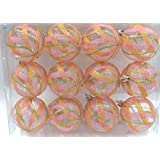 Queens Of Christmas WL-ORN-12PK-CL-MDGR 12 Pack Ball Ornament With Mardi Gras Swirl Design, Clear