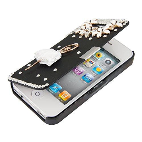 kwmobile Custodia protettiva pratica e chic FLIP COVER con strass Design tutú ballerina di tessuto per Apple iPhone 4 / 4S in oro bianco nero