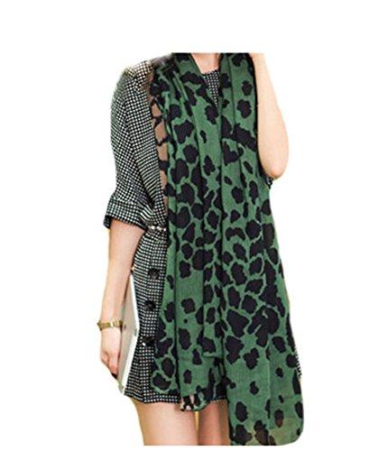 Luk T-Shop Womens Green Khaki Leopard Print Scarf (Green)