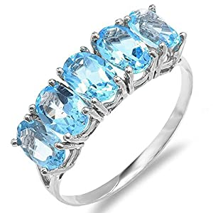 10K White Gold Light Weight 2.50 CT Oval Blue Topaz Gemstone Ladies 5 Stone Cocktail Ring