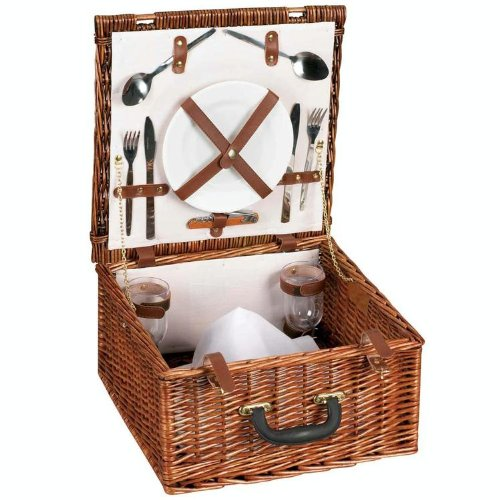 Review Household Essentials Woven Willow Square Shaped 2 Person Picnic Basket Set