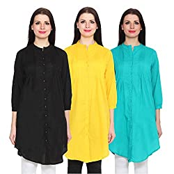 NumBrave Black, Yellow & Blue Long Cotton Top (Pack of 3)