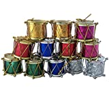 FunRobbers Christmas Decoration Hanging Multicolour Drums Small- Pack Of 12