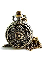 Tirio Bronze Skeleton Floral Quartz Pocket Watch Steampunk Watch Women Pendant Necklace with Chain and Gift Box