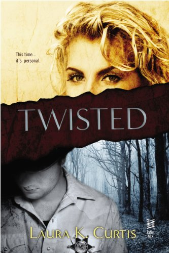 Cover image for Twisted by Laura K. Curtis. Cover is divided in two. Upper half is a sepia-toned image of the top part of a blond woman's face. She looks frankly out at the viewer, her curling hair tumbling over one eye. There is a faux-paper tear that prevents us from seeing more of her face. Lower image is blue-toned, a man from the chin down, head tilted slightly to the side. He wears a pale uniform shirt with a star over his left breast. Trees wave ominously through the mist behind him.