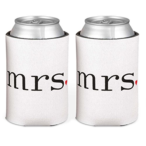 Hortense B. Hewitt Wedding Accessories Mrs. and Mrs. Can Coolers (Set of 2), White (Beer Wedding compare prices)