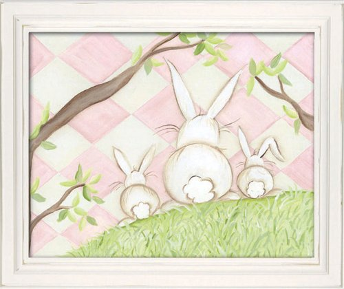 "Doodlefish Framed 18'x15"" Wall Art, Bunny Pink Diamond"