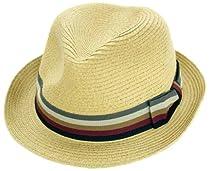 Sakkas 5551F Striped Bow Pinch Crown Straw Hat - Natural - S/M