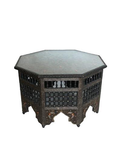 Badia Design Glass Top Metal & Bone Moucharabieh Coffee Table, Brown/Orange As You See