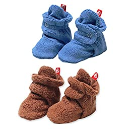 2 Pairs of Cozie Fleece Booties by Zutano - Periwinkle - 12 Mths / 15-20 Lbs / 25-29\