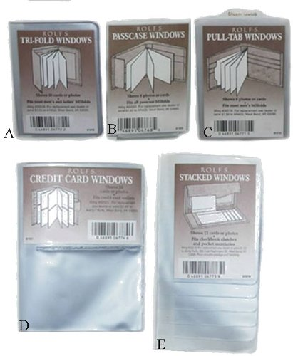 Plastic Wallet Inserts, Replacement Windows (A) Trifold)
