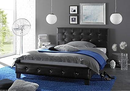 Polsterbett Bett Doppelbett mit Schmucksteine 140 x 200 schwarz Lederoptik 47001