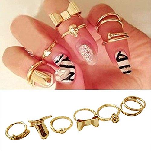 【 Oscarise Jewelry 】 イチオシ 関節リング セット ファランジリング ミディリング 【 レディース ファッション アクセサリー リング ゴールド 】 スカル リボン ネイル