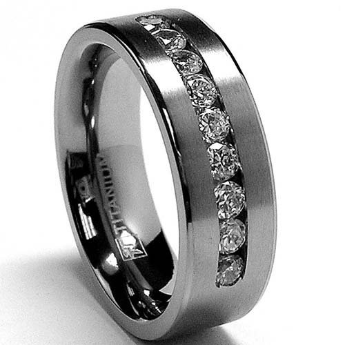 8 MM Men's Titanium ring wedding band with 9 large Channel Set Cubic Zirconia