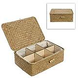 MyGift® Multipurpose Woven Seagrass Basket Organizer Box / Decorative Home Storage Bin w/ Divider - Beige