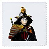 Scenes from the Past Magic Lantern Slides - Japanese Samurai Warrior in Old Japan Vintage Hand Tinted - 6x6 inch quilt square (qs_246702_2)