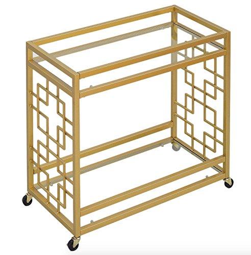 Retro Gold Tone Bar Cart Metal Serving Tray Table Coffee 2-Shelf Glass Kitchen Sofa Side Hall Entry 6