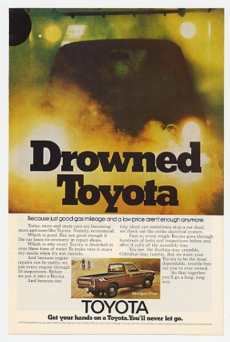 1976 Toyota SR-5 Sport Truck Drowned Water Test Print Ad (19868)