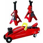 Torin Big Red Hydraulic Trolley Floor Jack Combo with 2 Jack Stands, 2 Ton Capacity