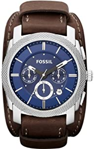 Fossil Machine Chronograph Blue Dial Stainless Steel Brown Leather Mens Watch FS4793