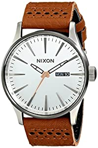 Nixon - Sentry Leather - Saddle / Silver