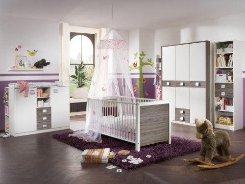 Babyzimmer Kinderzimmer Schrank Wickelkommode Bett Montana Eiche Jette 3-teilig