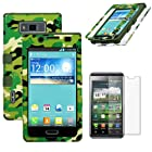 MINITURTLE, Premium Sleek Dual Layer 2 in 1 Hybrid Protective TUFF Case Cover and Screen Protetor Film for Prepaid Android Smartphone LG Optimus Showtime L86C / L86G and LG Optimus Ultimate L96G from Straight Talk (Woodland Camouflage / Dark Green)