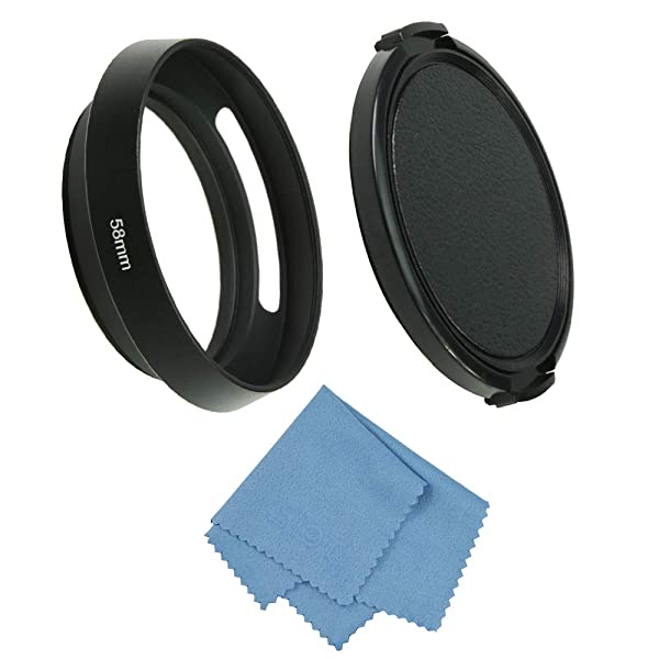 SIOTI Camera Standard Hollow Vented Metal Lens Hood with Cleaning Cloth and Lens Cap Compatible with Leica/Fuji/Nikon/Canon/Samsung Standard Thread Lens (Color: Standard Vented, Tamaño: 58mm)