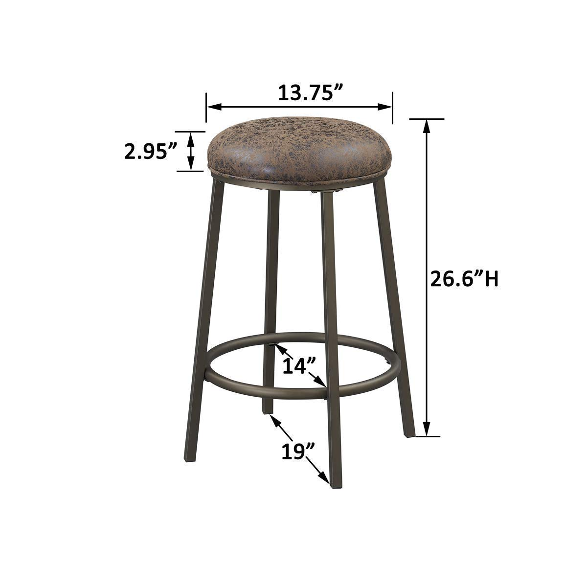 O&K Furniture Set of 4 Counter Height Stool Chairs, Industrial Style Round Metal Bar Stools, Kitchen Backless Stools Distressed Brown Upholstered Seat, 26.6-Inch High