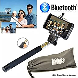 DaVoice Extendable Bluetooth Self Shooting Monopod Selfie Stick with Remote for all Smartphones - Black