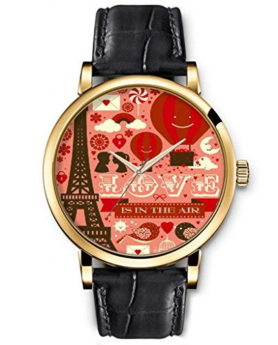 Quartz Watch Leather Classic Analog Round Gold Face Genuine Black Watches Present For Women Funny Design Fashion Accessory --- Hot Air Balloon And Eiffel Tower And Birds And Lovers And Hearts