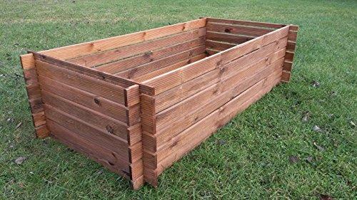 Stabiler-Holzkomposter-Komposter-Kompostbehlter-imprgniert-Hochbeet-170-x-85cm