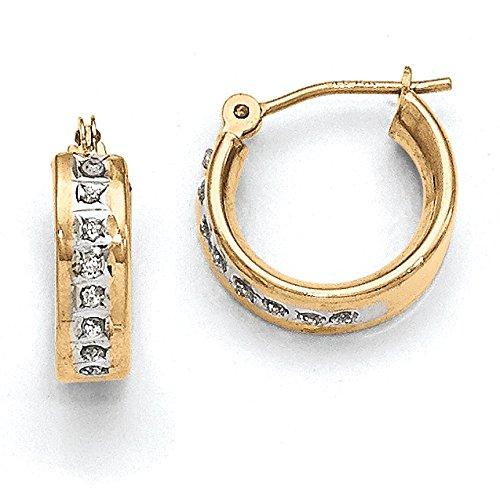 Diamond Hoop Earrings In Yellow Gold - 14Kt - Round - Hinge With Post - Radiant