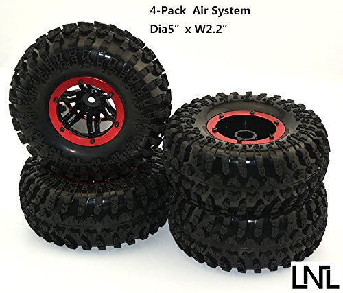 4Pack Air Filled Inflated 2.2 Bead Lock Wheel Tire System for 1:10 1:8 Rc Crawler SCX10 D90 AXIAL (Rc Slash Tires compare prices)