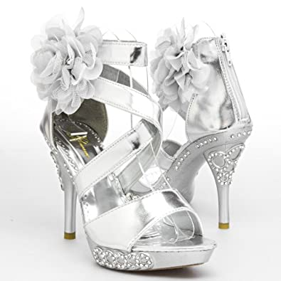 Open Toe Criss Cross Strappy Ankle X Strap Lace Flower Corsage